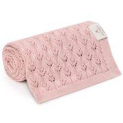 Memi flower bambusz-pamut kötött takaró - Vintage rózsaszín