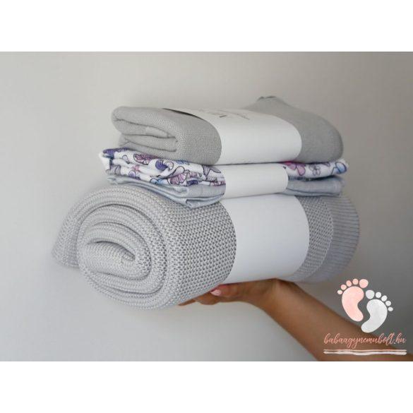 Memi bambusz-pamut kötött takaró - Hamuszürke