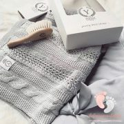 Royal pamut kötött takaró - Szürke
