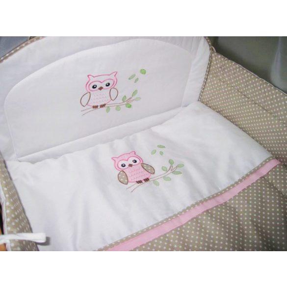 2 részes babaágynemű garnitúra - Provance rózsaszín bagoly