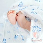 Royal organikus pamut muszlin takaró - Kék levelek