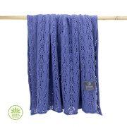 Könnyű álom bambusz-pamut kötött takaró - Szilvakék