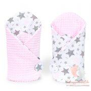pólya - Minky 2 oldalas Szürke aprócsillagos rózsaszín minkyvel