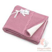 Color polár-pamut kötött takaró - Mályva