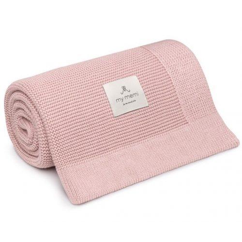 Memi bambusz-pamut kötött takaró - Púder rózsaszín