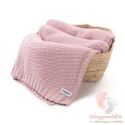 Color XL pamut kötött takaró - Vintage rózsaszín