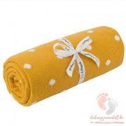 Happy pamut kötött takaró pöttyös - Mustár