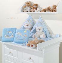 kapucnis fürdőlepedő - Felhős maci kék