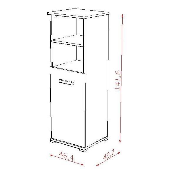 TODI ZOO - keskeny nyitott polcos + 1 ajtós szekrény
