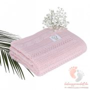 Royal pamut kötött takaró - Púder rózsaszín