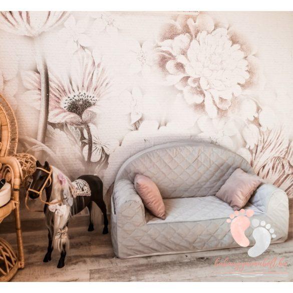 Velvet babakanapé - Vintage rózsaszín
