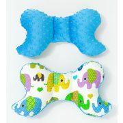 Prémium pillangó párna - Tarka elefántok kékkel
