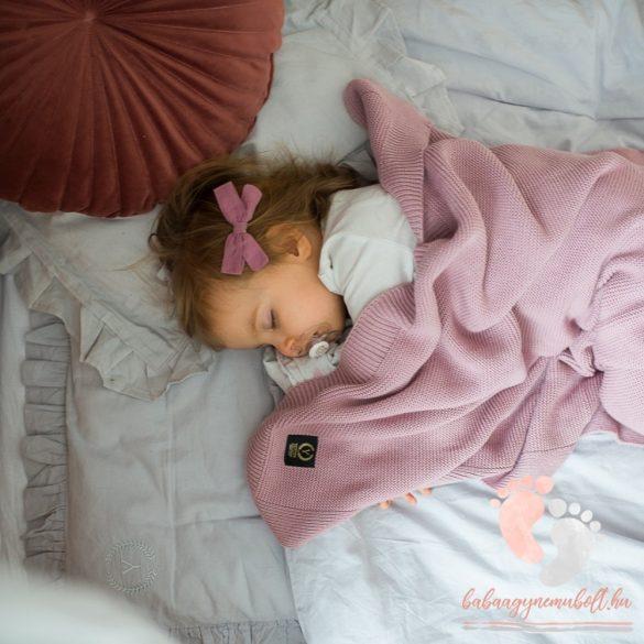 Royal French pamut kötött takaró - Púder rózsaszín