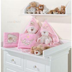 kapucnis fürdőlepedő - Alvó maci rózsaszín