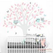 Falmatrica - Pasztell baglyok szürke fával rózsaszín levelekkel