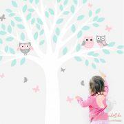 Falmatrica - Pasztell baglyok fehér fával menta levelekkel