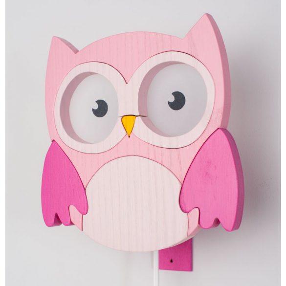 Bagoly pink fali lámpa