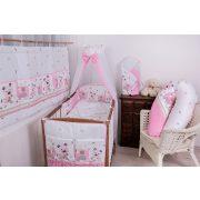Babaágynemű garnitúra 4 részes  Szórakozott rózsaszín elefántok